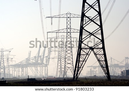 Electricity poles - stock photo