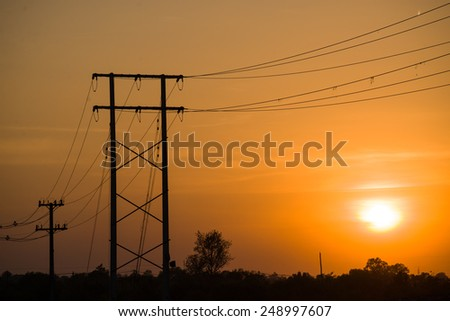 Electricity poles on colorful sky , sunset