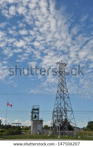 Electricity post and skies
