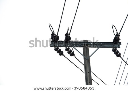 electricity post, chaotic wire on wire and  white background