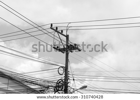 Electricity post in black and white tone.