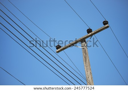 electricity post in blue sky at Thailand