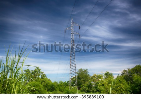 Electricity post in blue sky background - stock photo