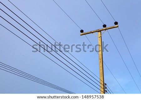 electricity post in blue sky, Thailand