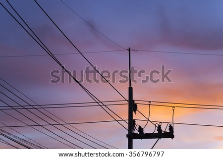 electricity post in the  evening