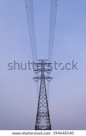 Electricity post in twilight time