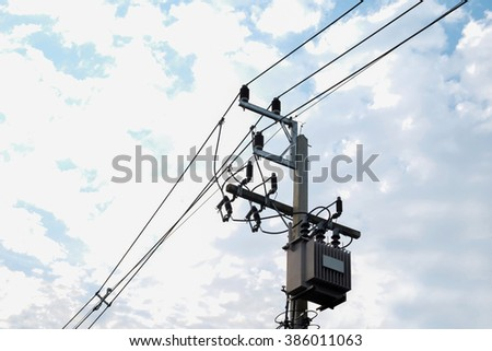 Electricity post sky background