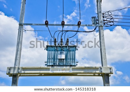 Electricity post,transformer - stock photo