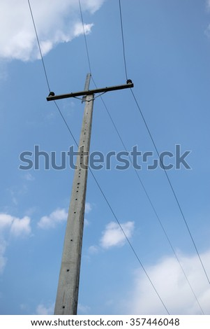 Electricity post - View Electricity post and clouds blue sky background - stock photo