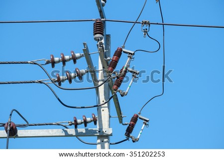 Electricity post with clear blue sky.