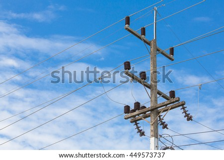 electricity post with clear blue sky and clouds