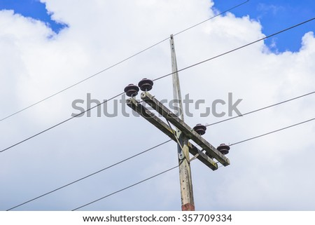 Electricity Post with cloud background