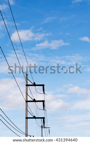 Electricity posts on the sky