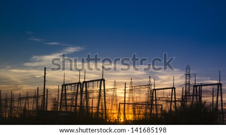 Electricity power generating station in Phoenix, AZ photographed at sunset.  Perfect for company wall art. - stock photo