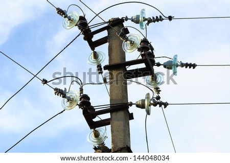 Electricity power line under the blue sky - stock photo
