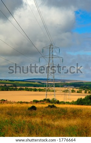 Electricity power lines in the Grampian region of Scotland - stock photo