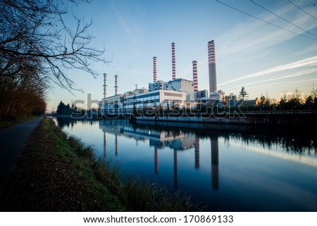 Electricity power plant near a river