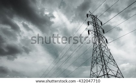 Electricity pylon / Electricity pole with after rain sky / High voltage electric tower with beautiful sky background after the rain / high voltage post. - stock photo