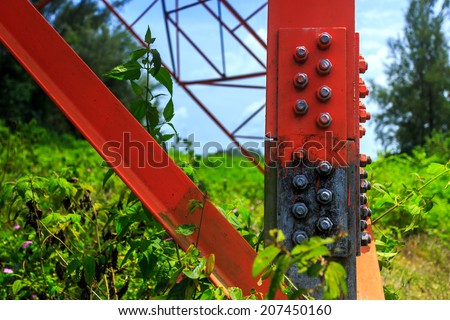 Electricity pylon elements close-up in details - stock photo