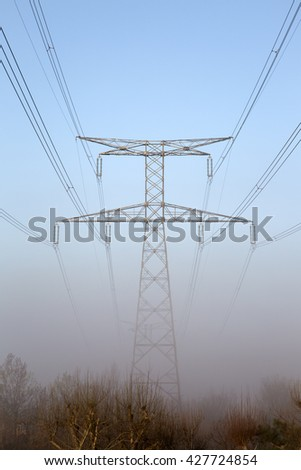 Electricity Pylon in Mist, France