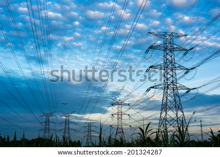 Electricity pylons and cable lines. Horizontal format
