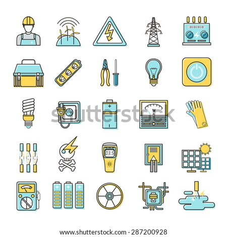 electricity related flat line icons set over white background - stock photo