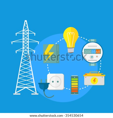 Electricity service flat design. Electric and energy, electrician and electricity icon, power lightning, light bulb and electronics, technology industry illustration - stock photo