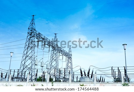 Electricity station, Electricity plant landscape over blue sky - stock photo