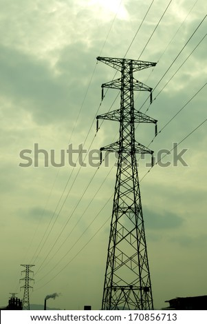 Electricity tower at dusk