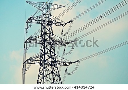 Electricity tower, High voltage post with blue sky background