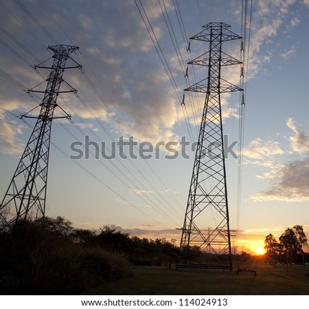 Electricity tower in the sunset