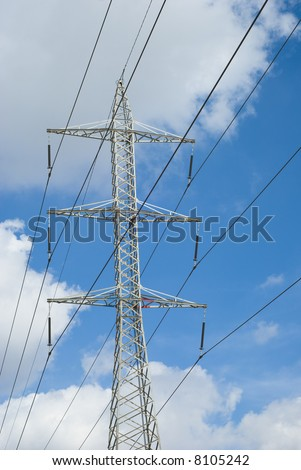 electricity tower isolated on sky background