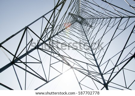 Electricity tower looking up