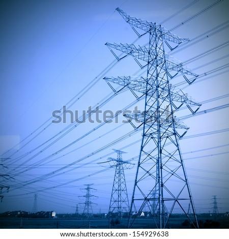 Electricity tower Retro - stock photo