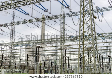 Electricity transformation station - stock photo