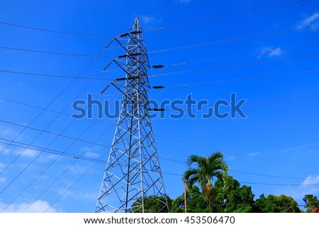 Electricity transmission power lines - stock photo
