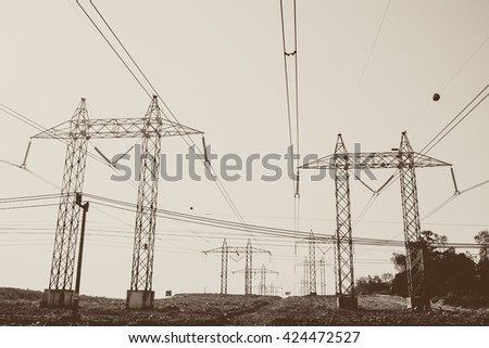 Electricity transmission power lines (High voltage tower).Vintage tone