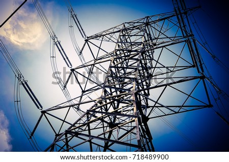 electricity transmission pylon high voltage pole
