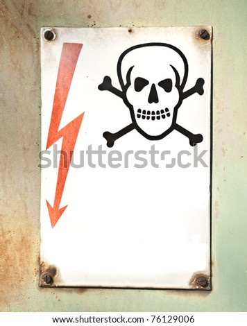 Electricity warning metal sign - stock photo