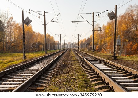 Electrified railway tracks perspective with trees along covered with golden leaves in autumn