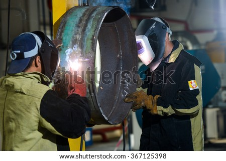 electro-welder at work - stock photo