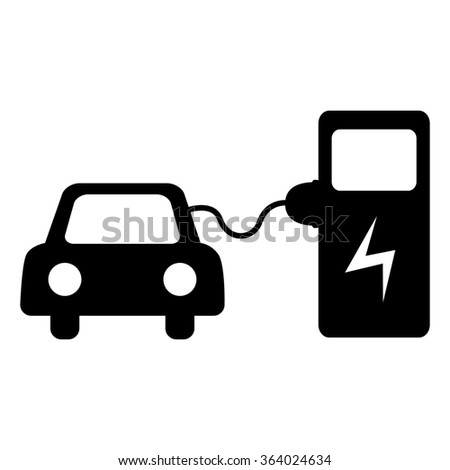Electrocar battery charging icon. Isolated on white background - stock photo