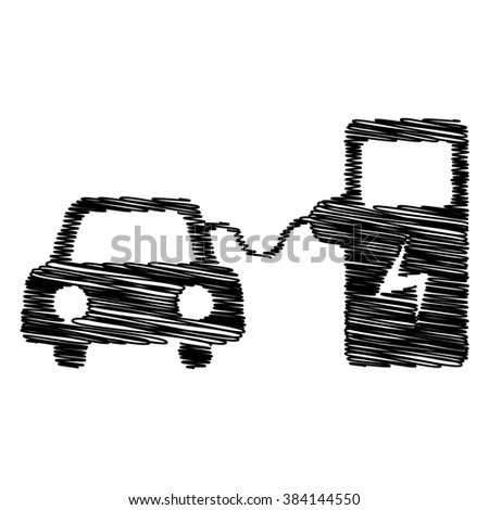 Electrocar battery charging sign. Flat style icon with scribble effect - stock photo