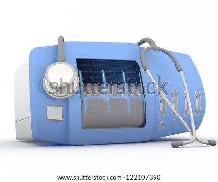 Electrocardiogram device with stethoscope  - 3D render - stock photo