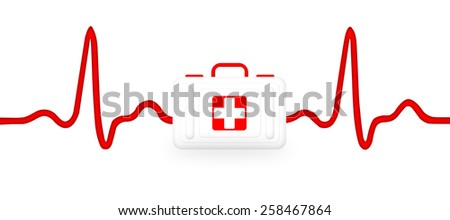 Electrocardiogram (ECG, heart monitor) with stethoscope and first aid kit. Illustration, isolated on white - stock photo