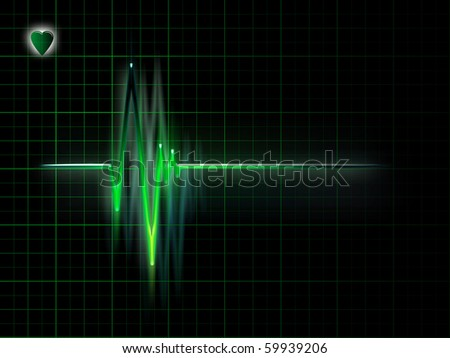 electrocardiogram graph on a dark background - stock photo
