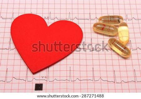 Electrocardiogram graph, pills and heart shape, ekg heart rhythm, medicine concept - stock photo