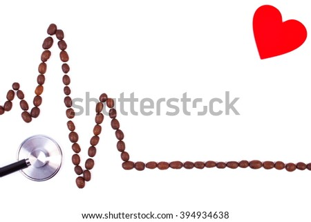 Electrocardiogram line of roasted coffee grains and medical stethoscope on white background, copy space for text, ecg heart rhythm, medicine and healthcare concept - stock photo