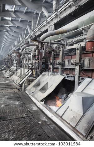 Electrolytic bath for aluminum smelter - stock photo