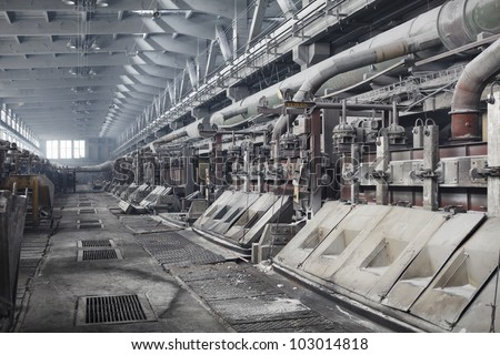 Electrolytic bath for aluminum smelter - stock photo